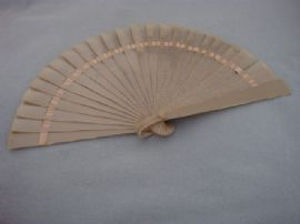 Celluloid Fan from circa 1920s - Striped Grey colour - Interesting Early Plastic